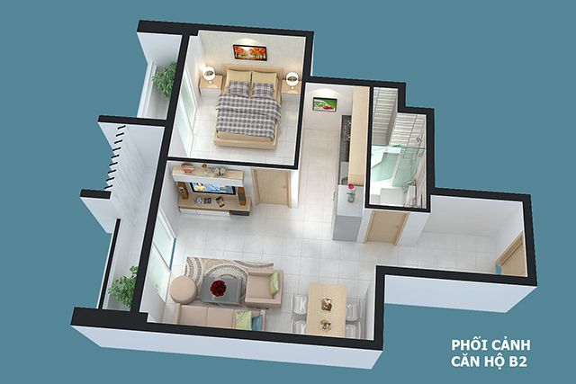 Thiết kế can ho Full House 56 m2