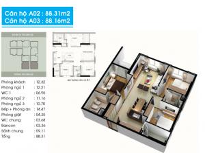 Thiết kế căn hộ topaz center 88 m2