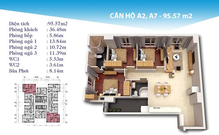 Thiết kế căn hộ 95m2 dự án topaz city