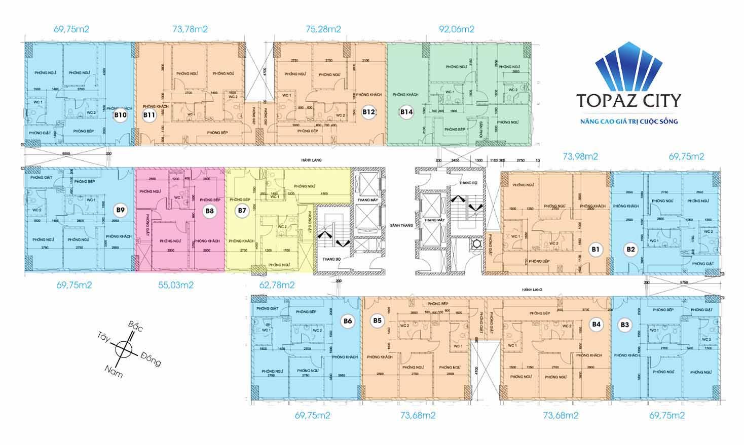 Mặt bằng căn hộ Topaz City