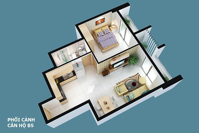 Thiết kế can ho Full House 61 m2