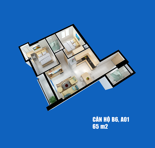 Căn hộ Full House 65 m2