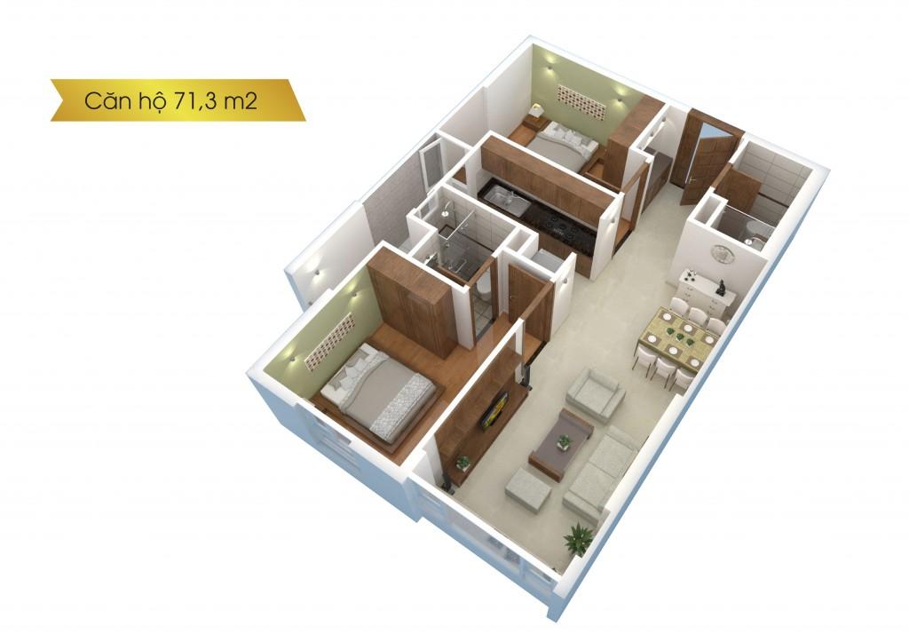 Căn hộ Saigonres Plaza diện tích 71m2