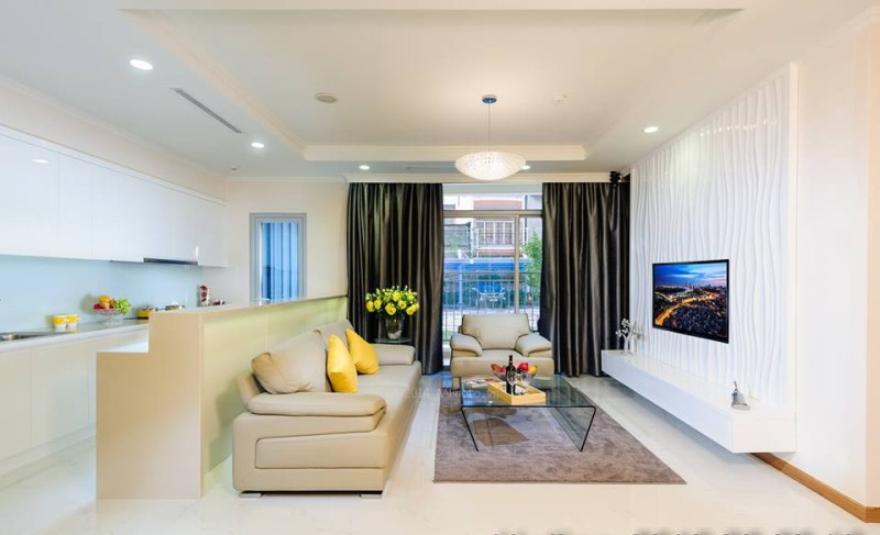 Căn hộ mẫu Opal Riverside - phòng khách