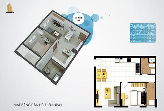 Mặt bằng căn hộ Linh Trung A4
