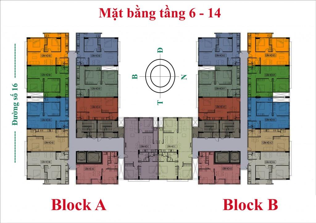 Mặt bằng tầng căn hộ Linh Trung