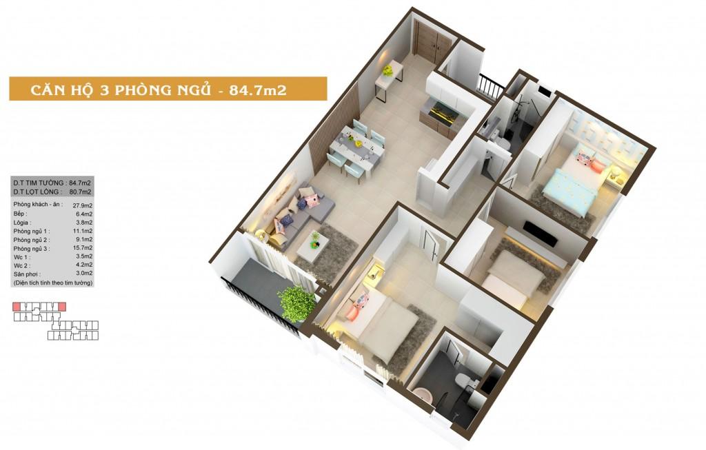 Thiết kế căn hộ Auris city loại 3B (3PN)