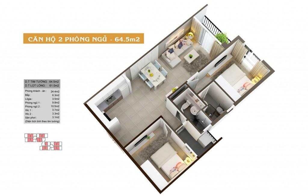 Thiết kế căn hộ Auris City loại-64.5m2