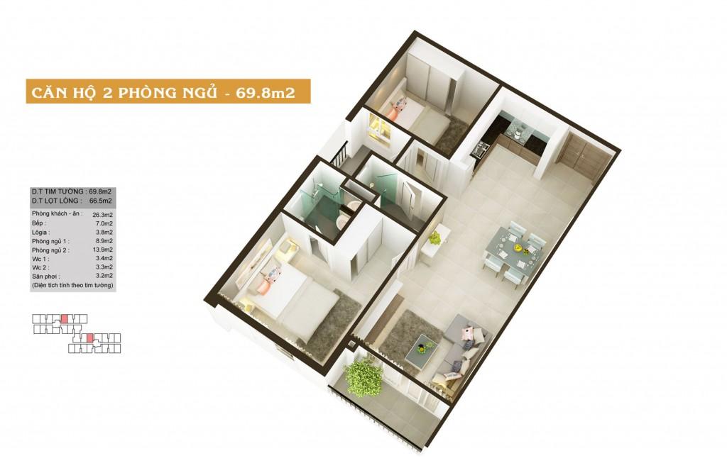 Thiết kế căn hộ Auris City loại-69.8m2