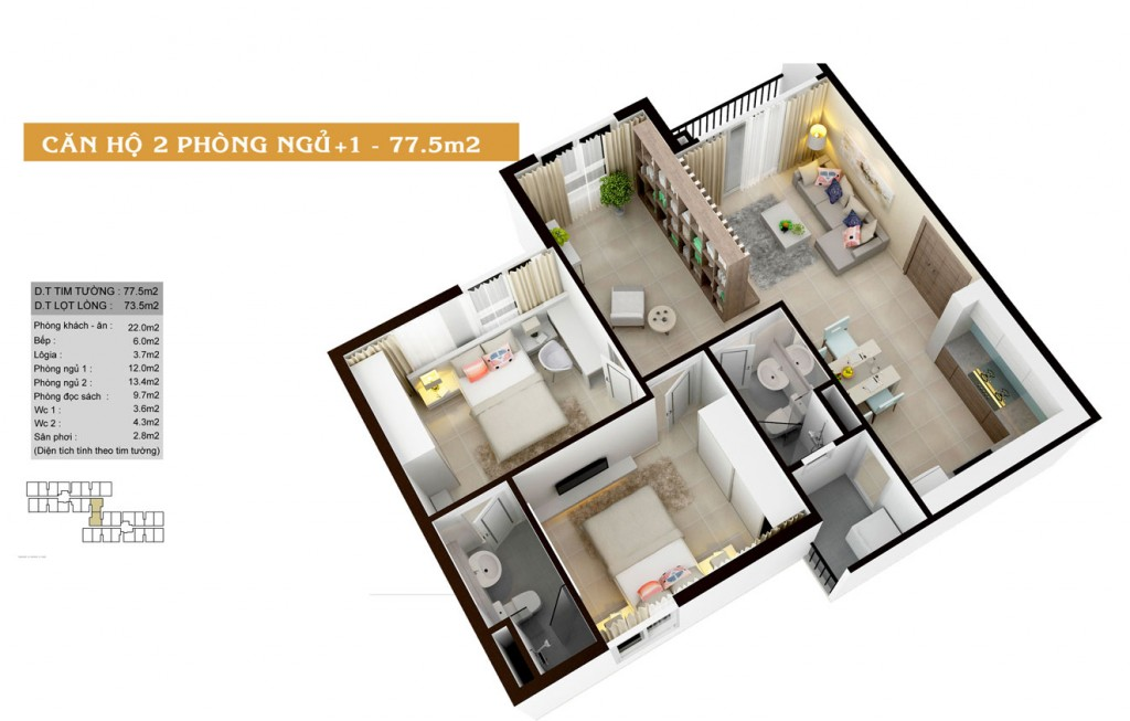 Thiết kế căn hộ Auris City loại-77.5m2