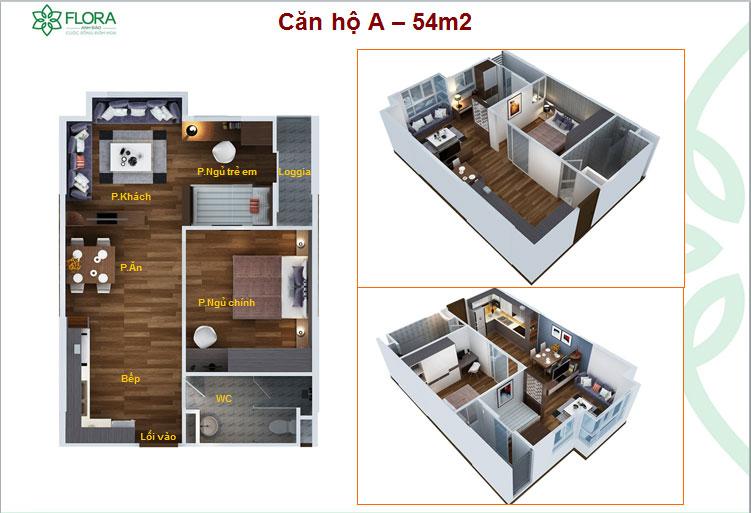 Thiết kế căn hộ Flora Anh Đào 54m2