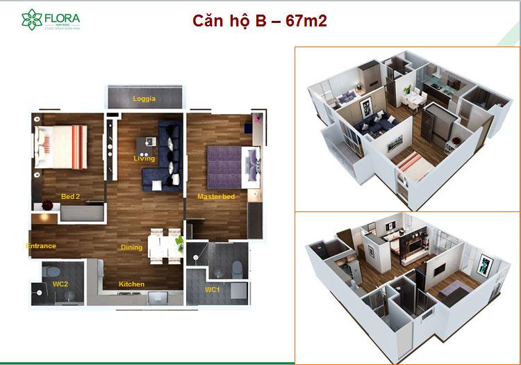 Thiết kế căn hộ Flora Anh Đào 67m2