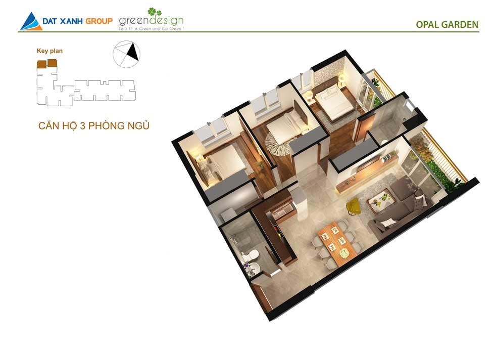 Thiết kế căn hộ Opal garden loại A