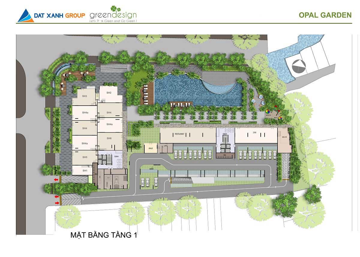 Mặt bằng tổng thể dự án căn hộ Opal garden