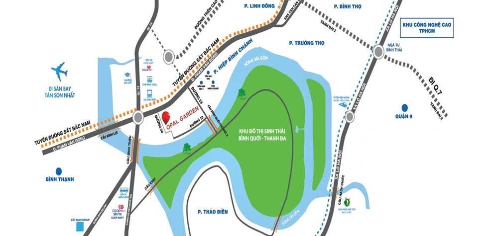 vị trí căn hộ Opal garden