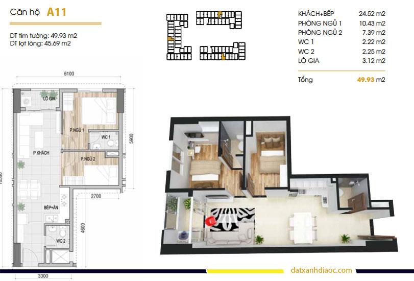 Thiết kế căn hộ Prosper Plaza loại A11 49m2