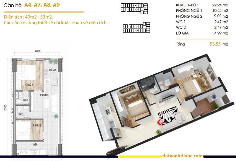 Thiết kế căn hộ Prosper Plaza loại 53m2