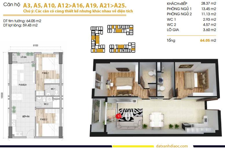 Thiết kế căn hộ Prosper Plaza loại 64m2