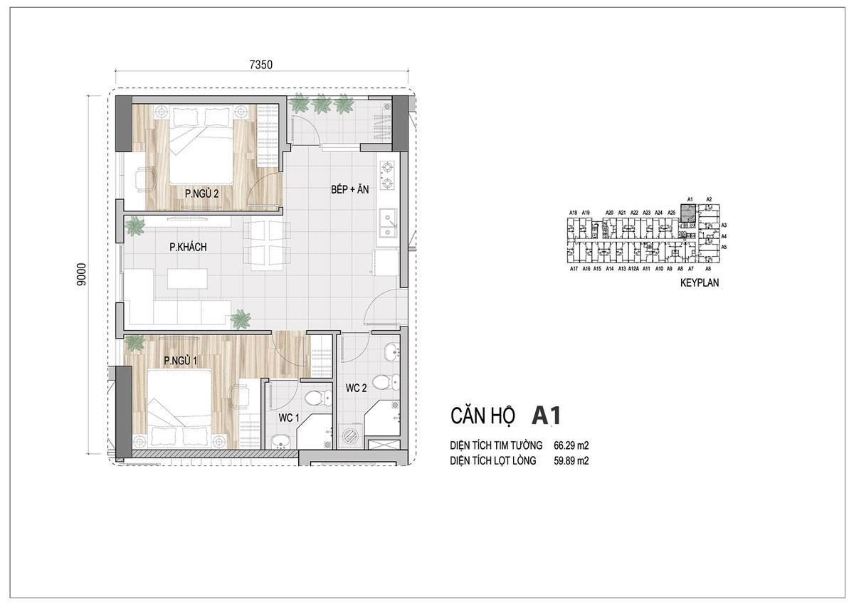 Thiết kế căn hộ Prosper Plaza loại 66m2