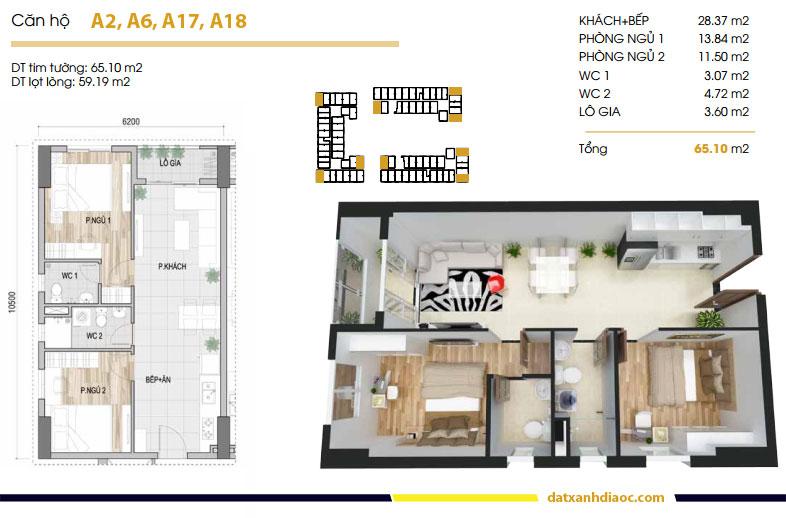 Thiết kế căn hộ Prosper Plaza loại 65m2
