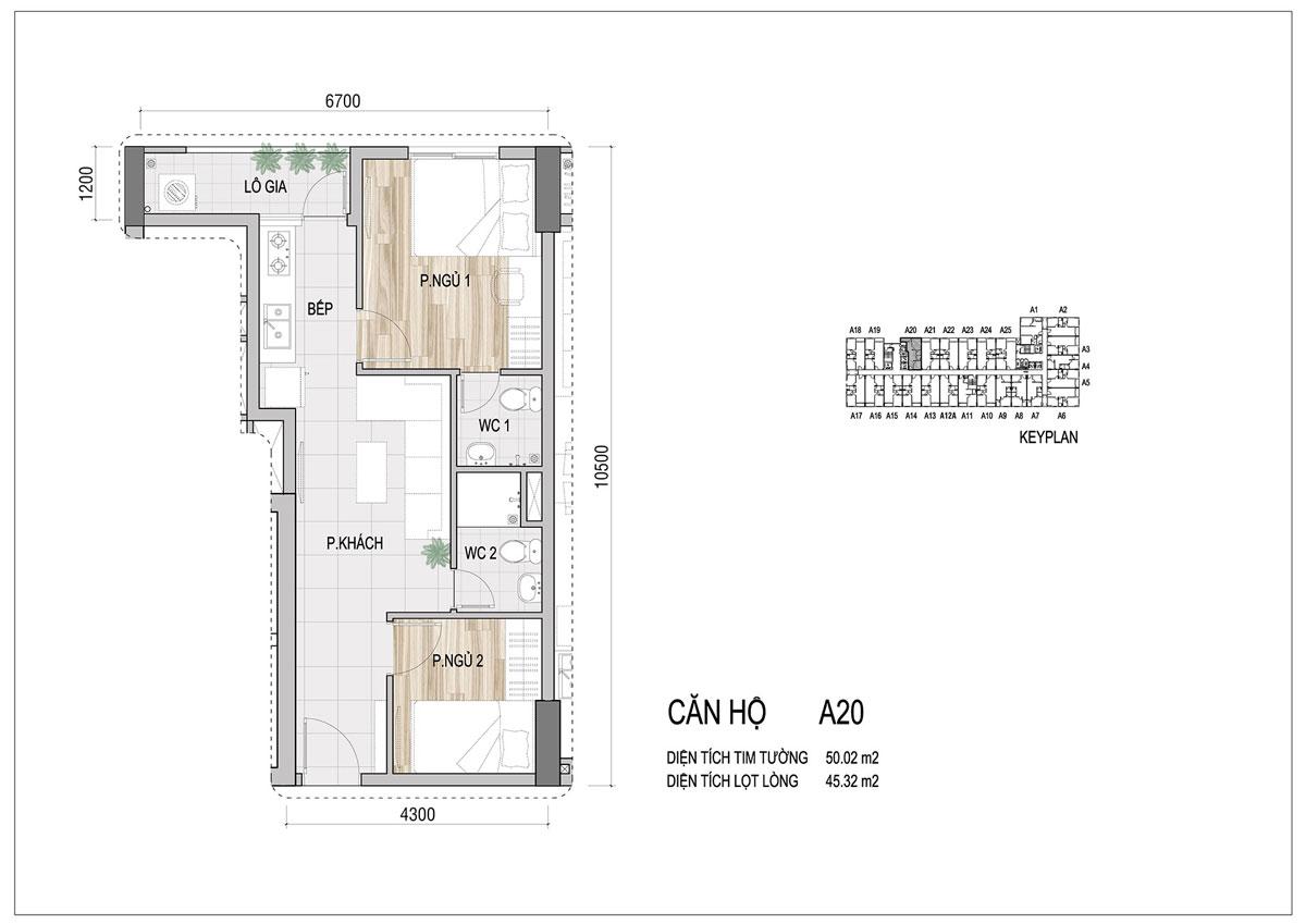 Thiết kế căn hộ Prosper Plaza loại 50m2