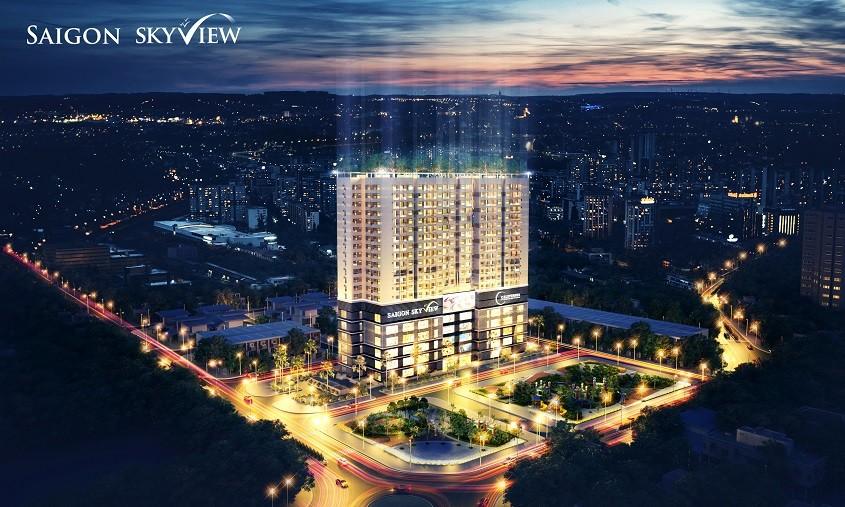 Phối cảnh căn hộ saigon skyview ban đêm