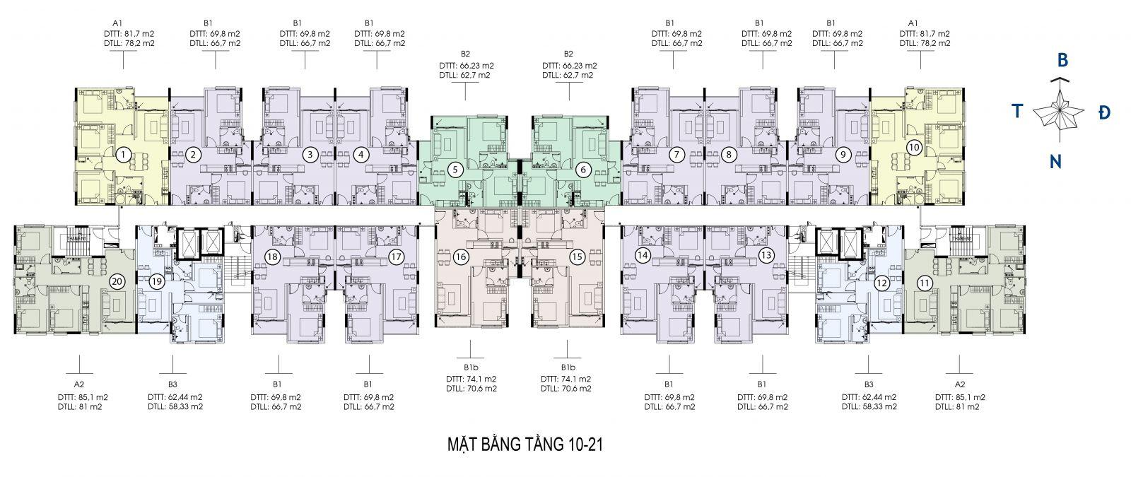 Mặt bằng tầng 10-21 căn hộ Saigon skyview quận 8