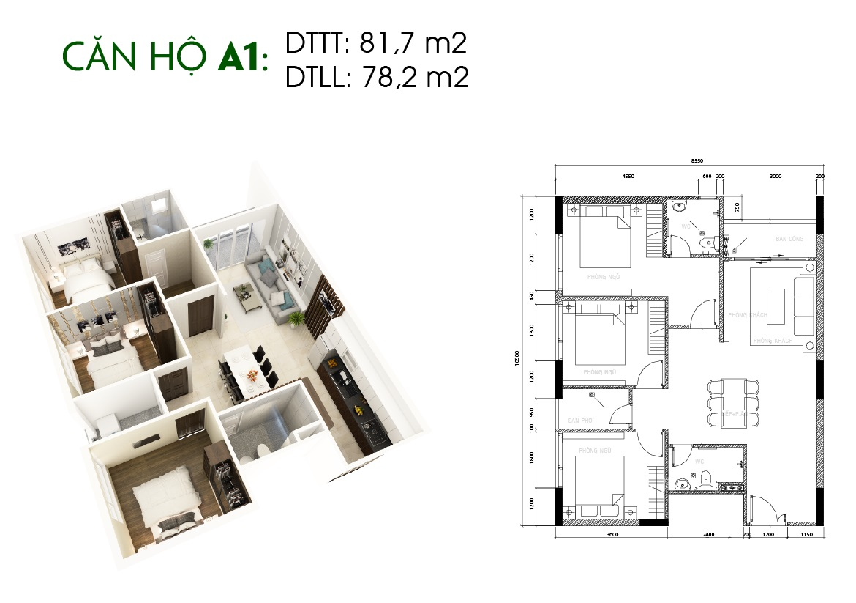 Thiết kế căn hộ Saigon Skyview Loại Căn A1