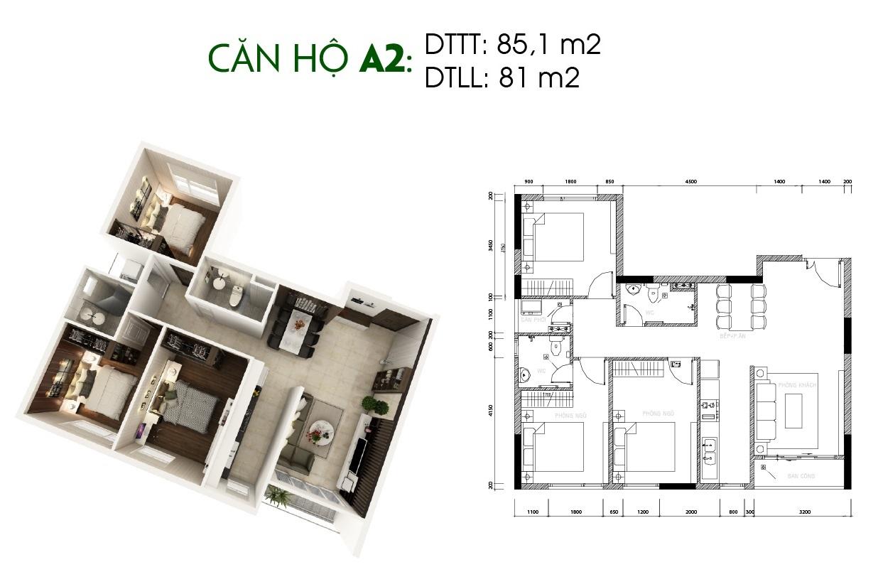Thiết kế căn hộ Saigon Skyview Loại Căn A2