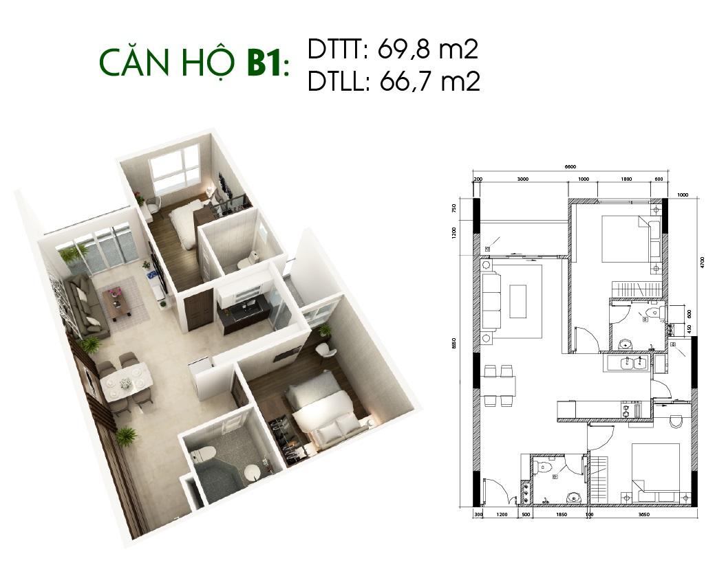 Thiết kế căn hộ Saigon Skyview Loại Căn B1