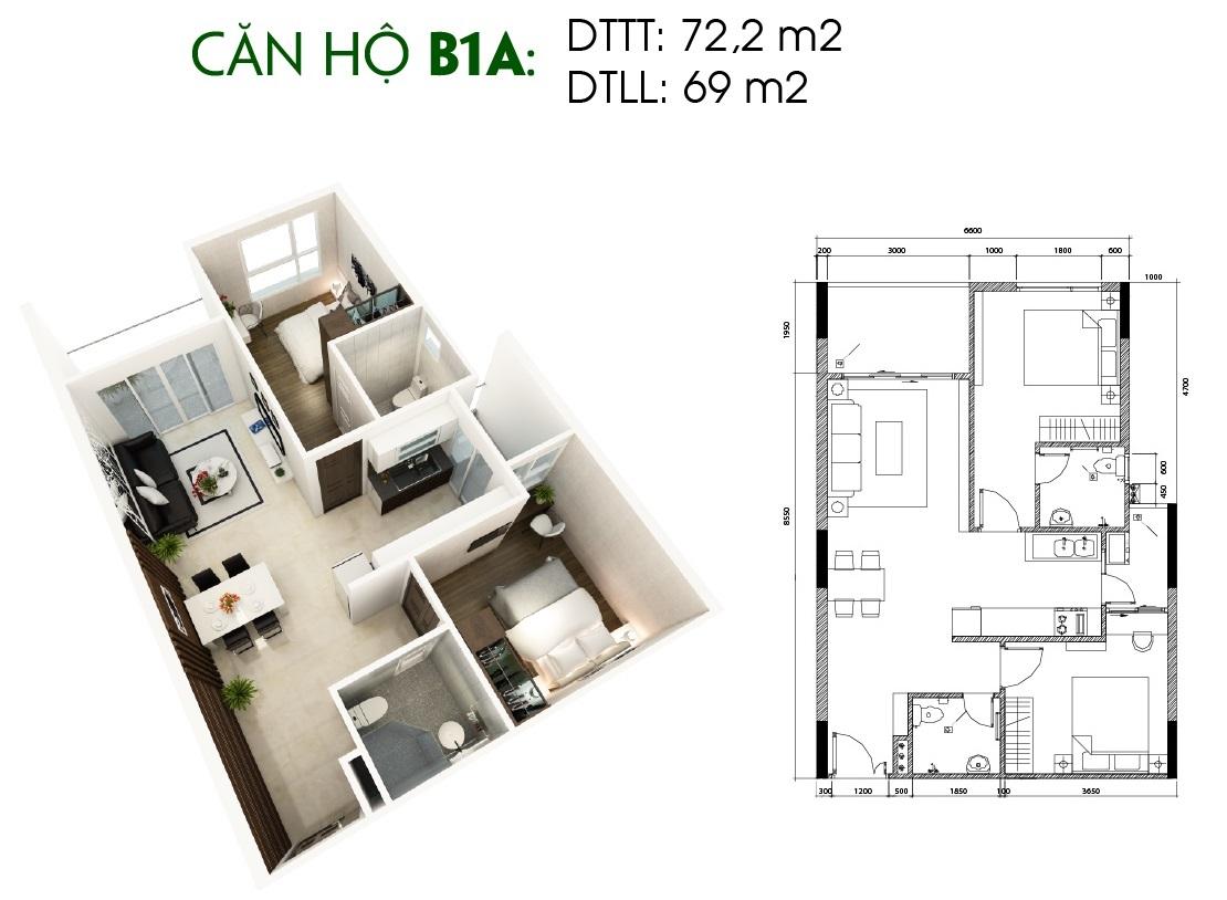 Thiết kế căn hộ Saigon Skyview Loại Căn B1a