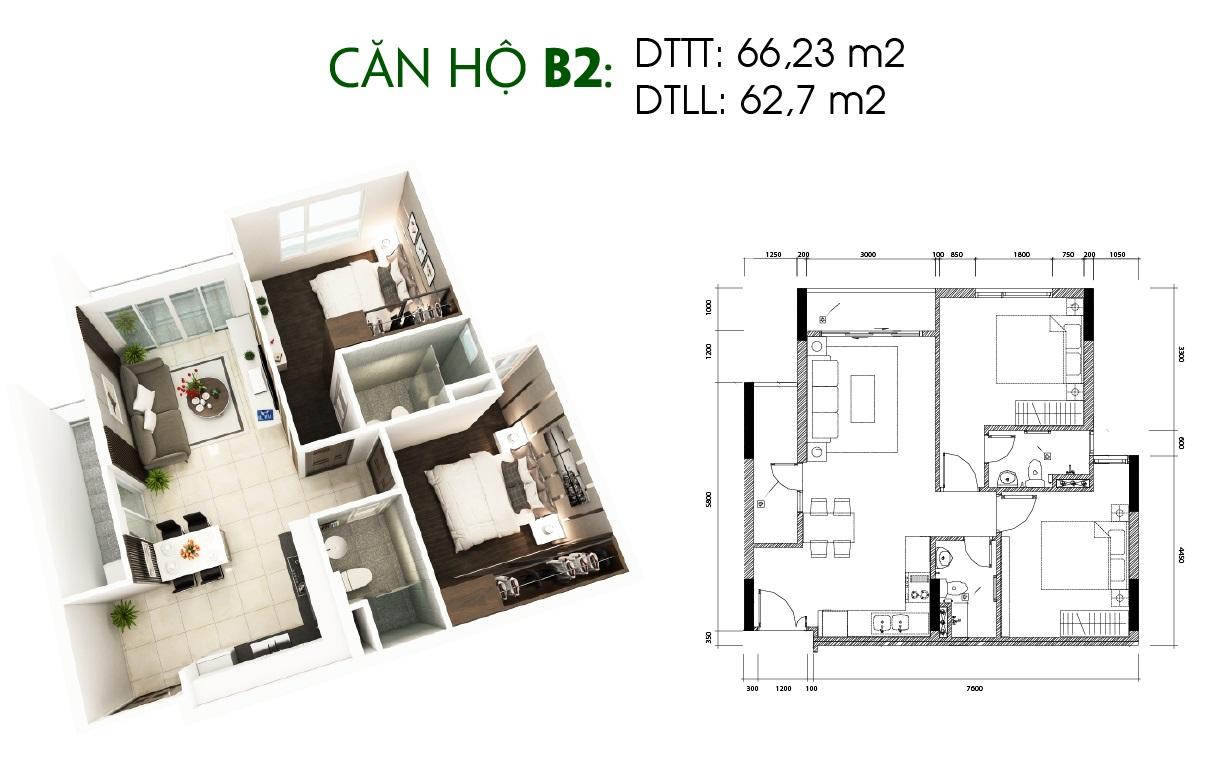 Thiết kế căn hộ Saigon Skyview Loại Căn B2