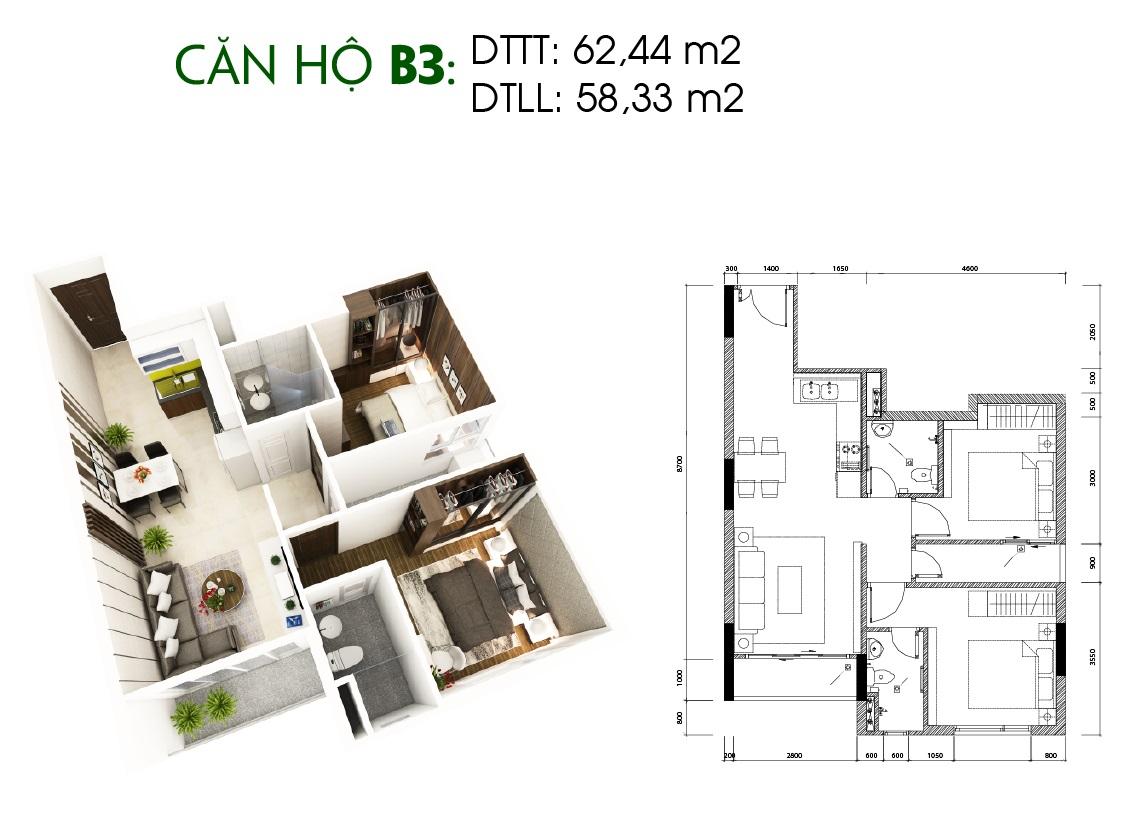 Thiết kế căn hộ Saigon Skyview Loại Căn B3