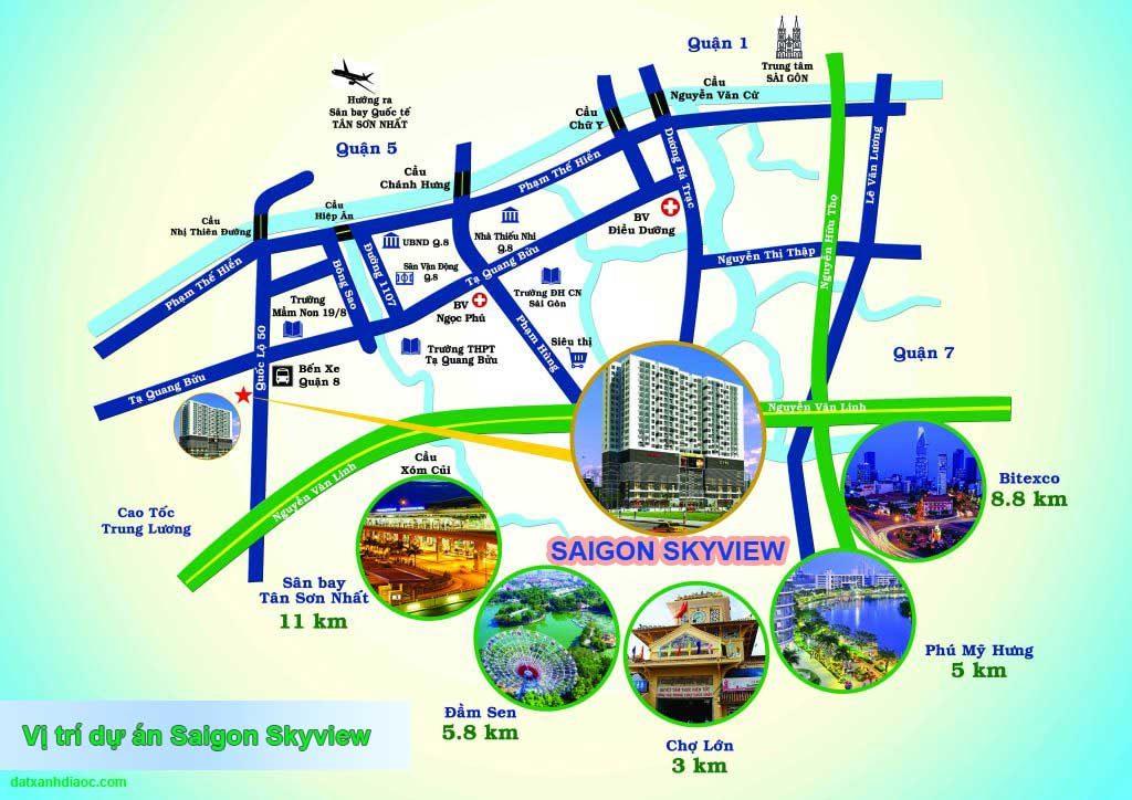 Vị trí căn hộ saigon skyview Quận 8
