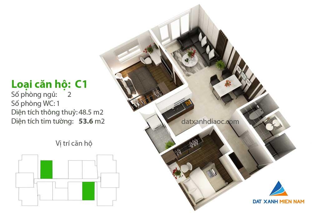 Căn hộ Saigon Riverside City - Thiết kế loại C1