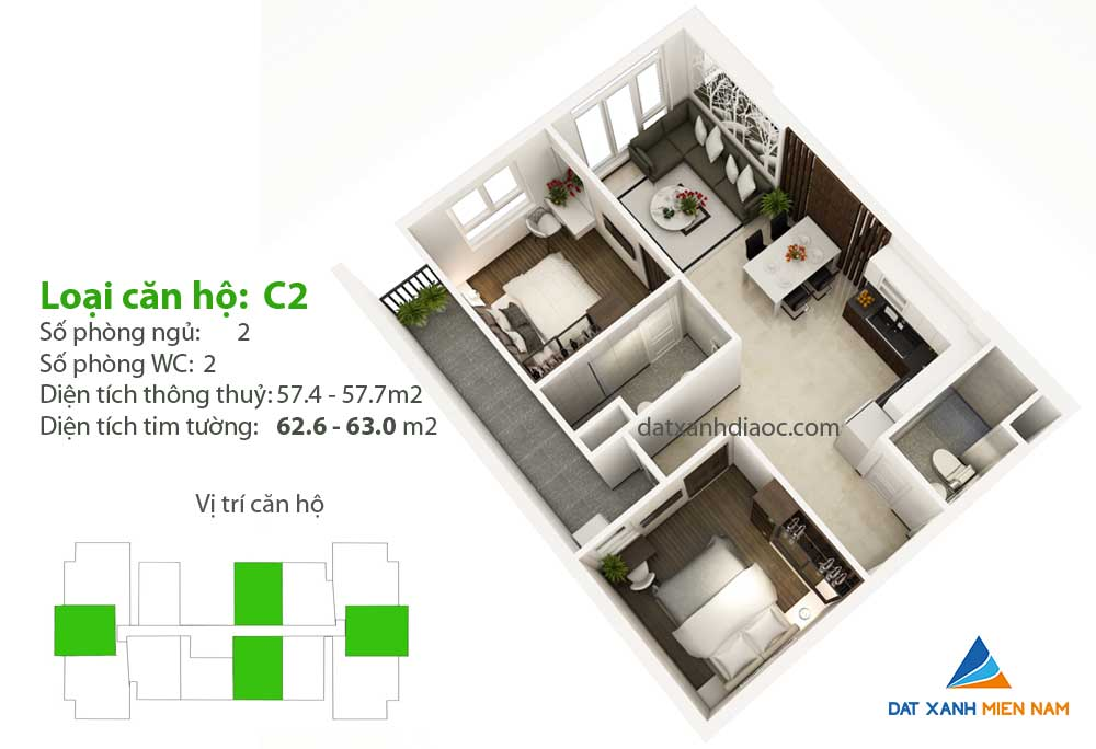 Căn hộ Saigon Riverside City - Thiết kế loại C2