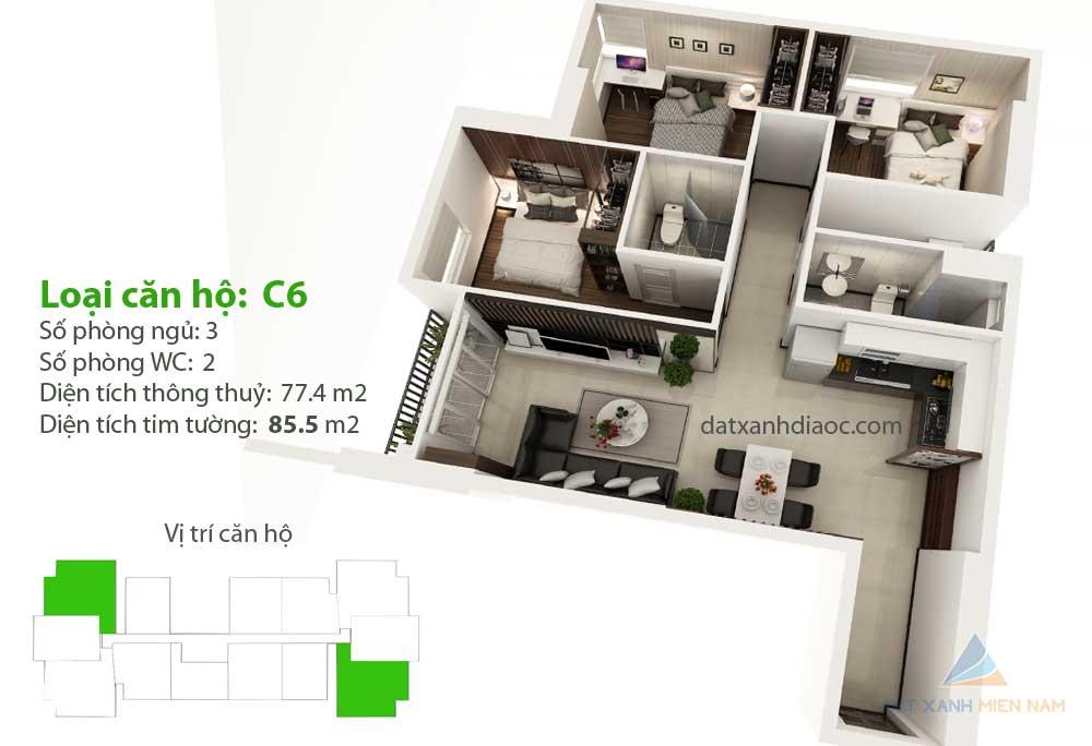 Căn hộ Saigon Riverside City - Thiết kế loại C6