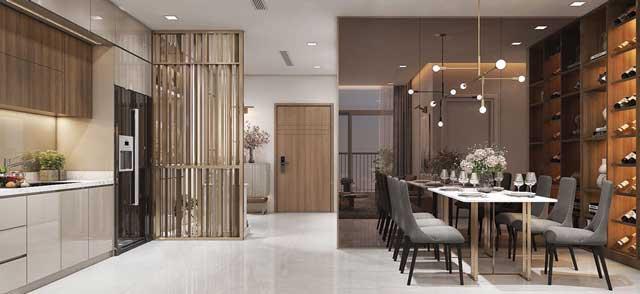 Phối cảnh phòng bếp và phòng ăn tại căn hộ mẫu Saigon Riverside City