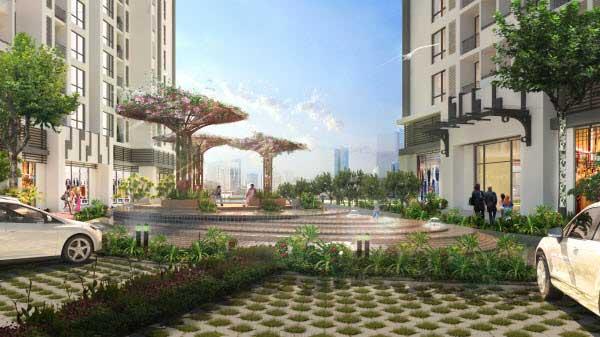 Khu vườn hoa tiểu cảnh trong dự án