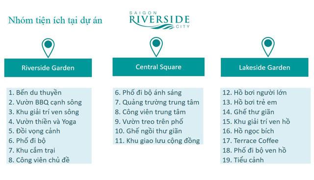 Các nhóm tiện ích tại dự án Saigon Riverside City 1