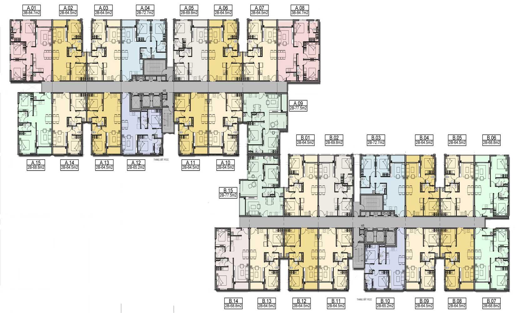 Mặt bằng tầng 5-21 căn hộ High Intela Quận 8