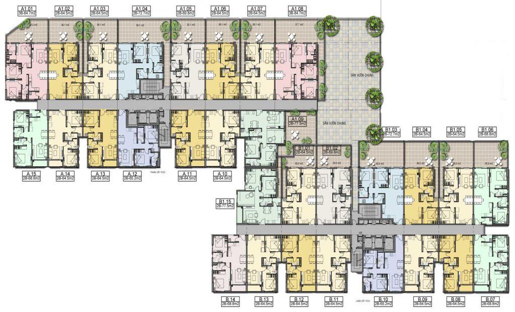 Mặt bằng tầng căn hộ High Intela Quận 8
