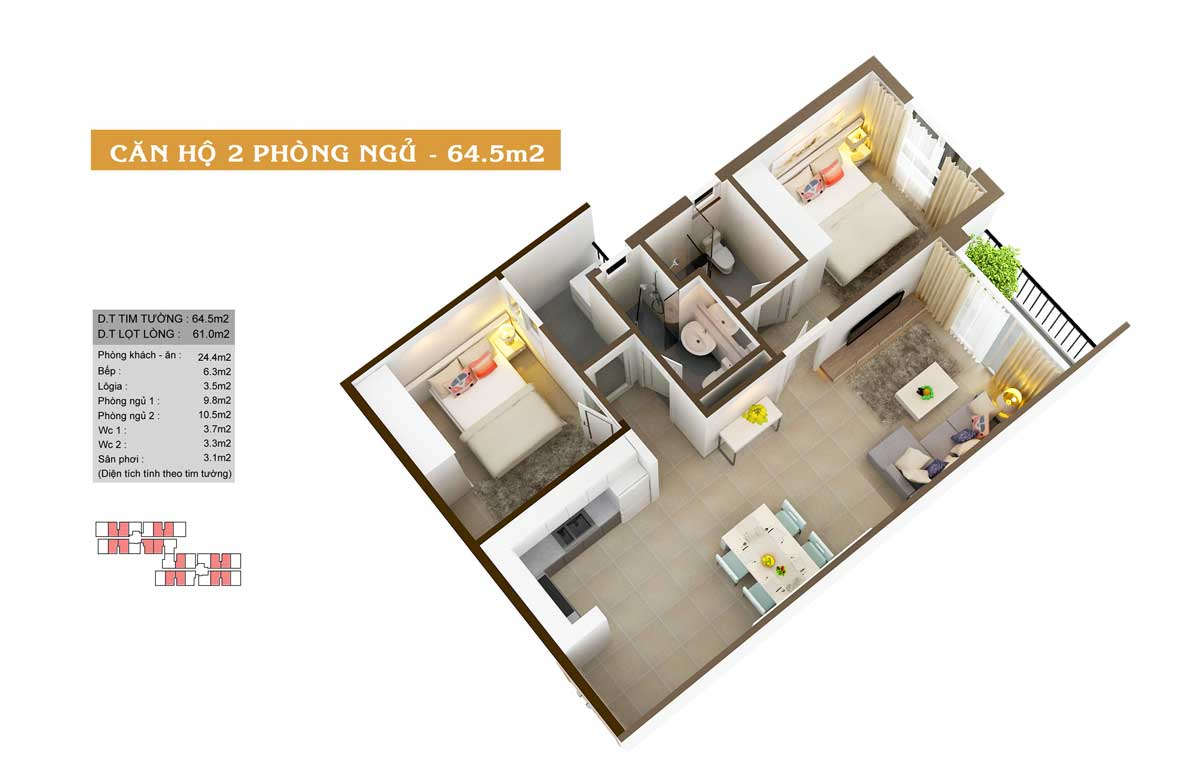 Thiết kế căn hộ high intela 64m2