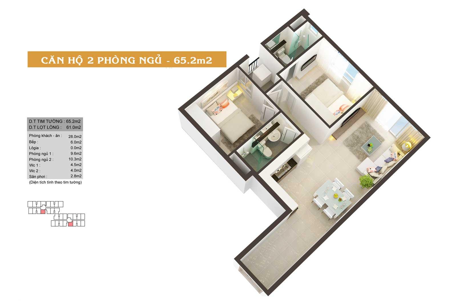 Thiết kế căn hộ High Intela 65m2