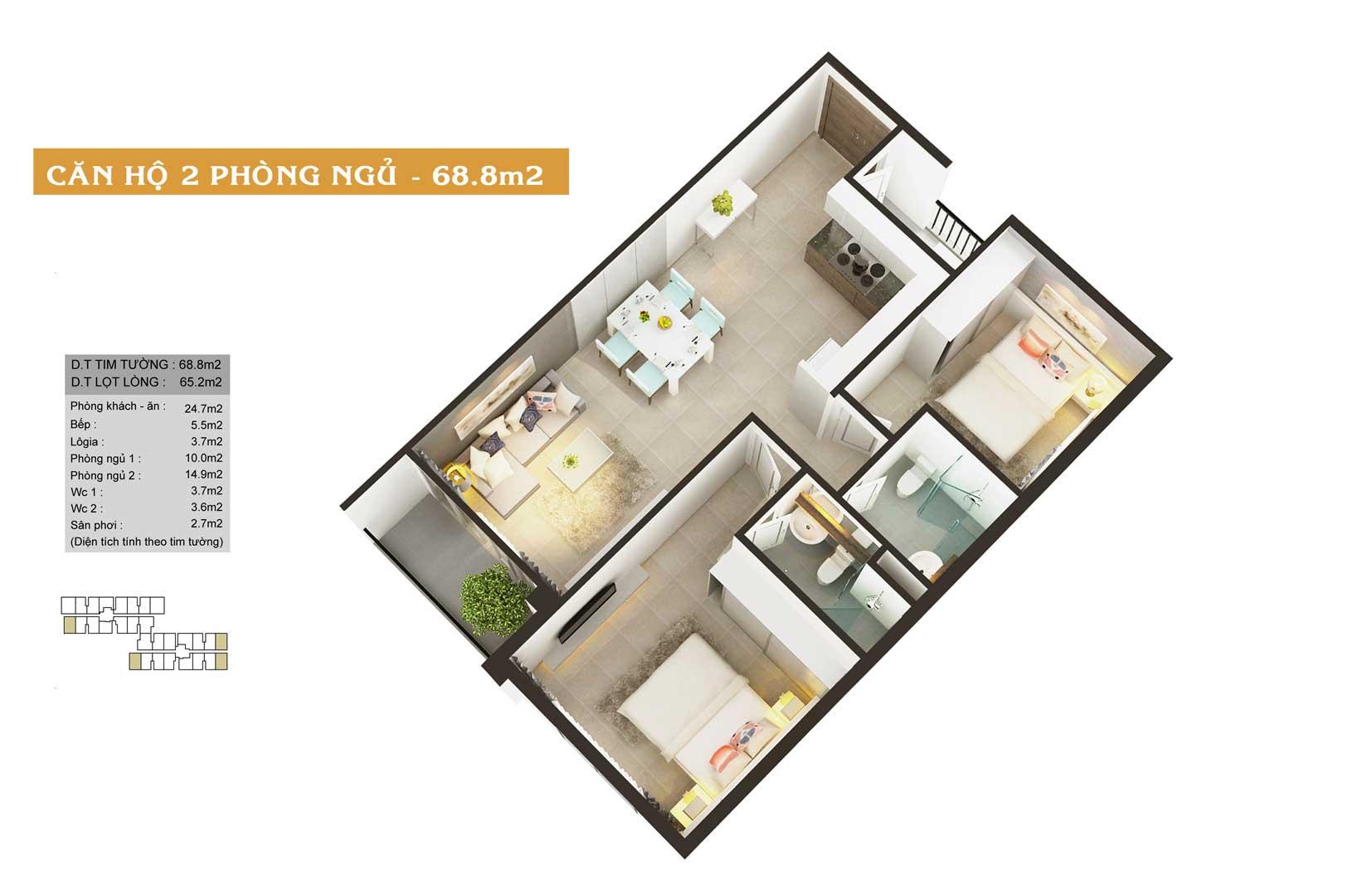 Thiết kế căn hộ High Intela 69m2