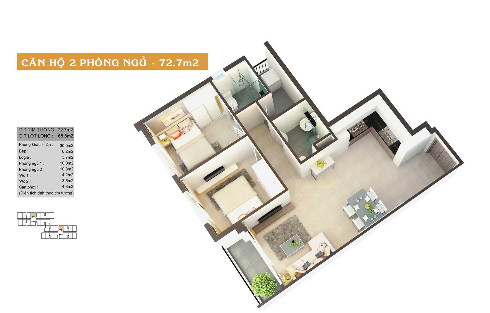 Thiết kế căn hộ High Intela 73m2
