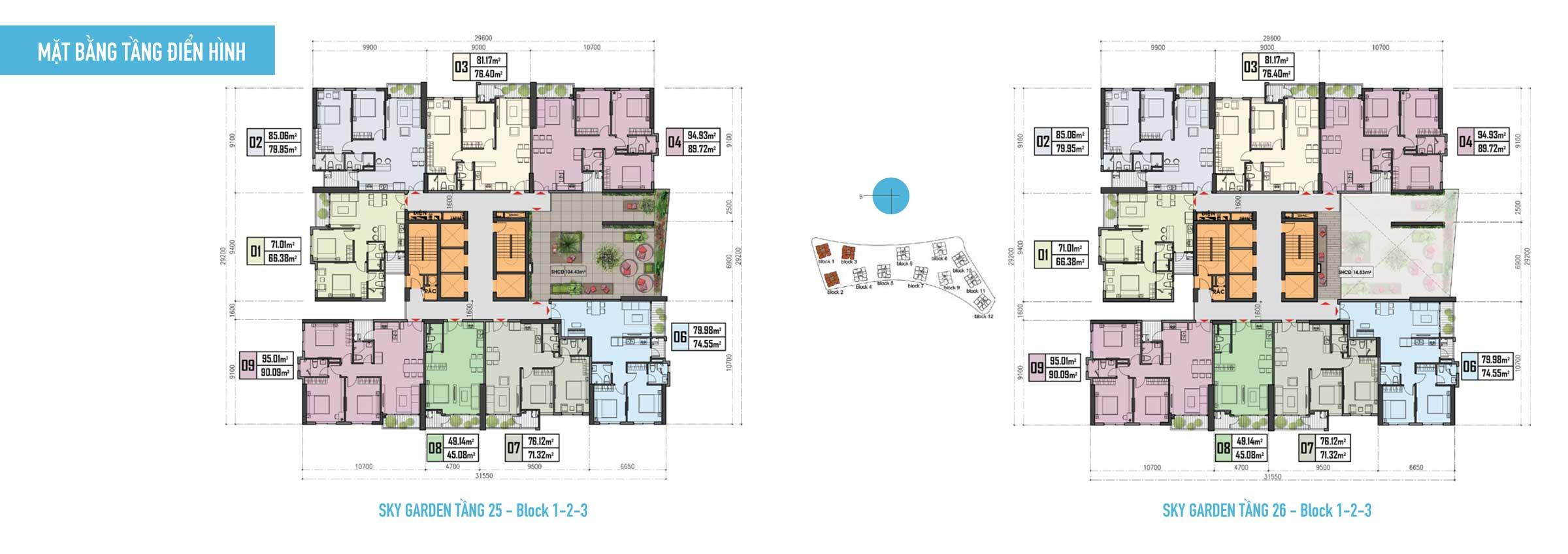 Thiết kế Căn hộ Gem Riverside - Mặt bằng tầng 25-26-Block-1,2,3