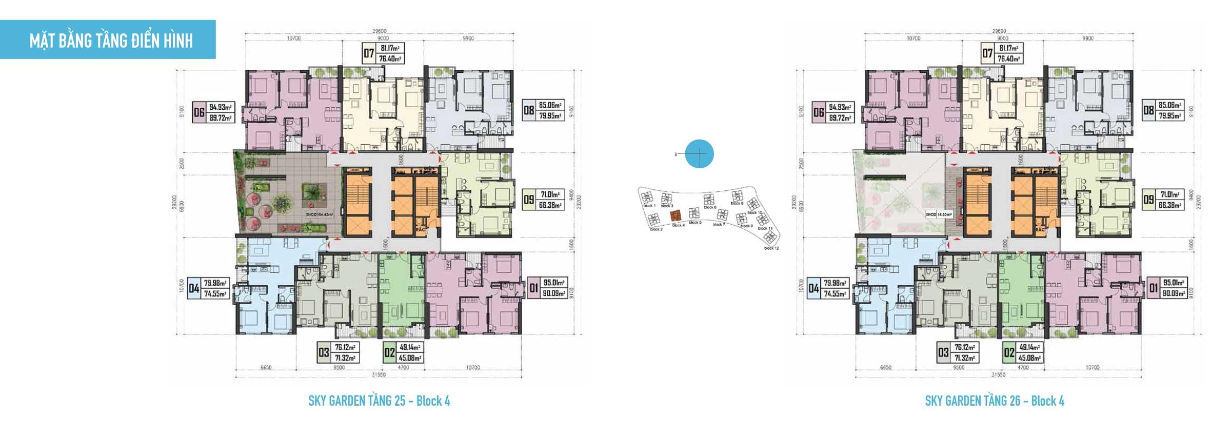 Thiết kế Căn hộ Gem Riverside - Mặt bằng tầng 25-26-Block-4