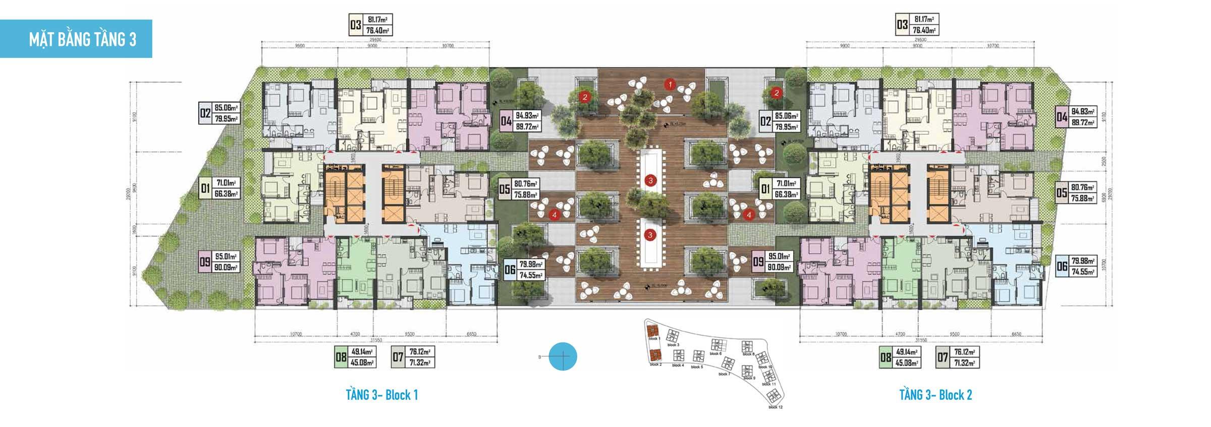 Thiết kế Căn hộ Gem Riverside - Mặt bằng tầng 3 Block 1,2
