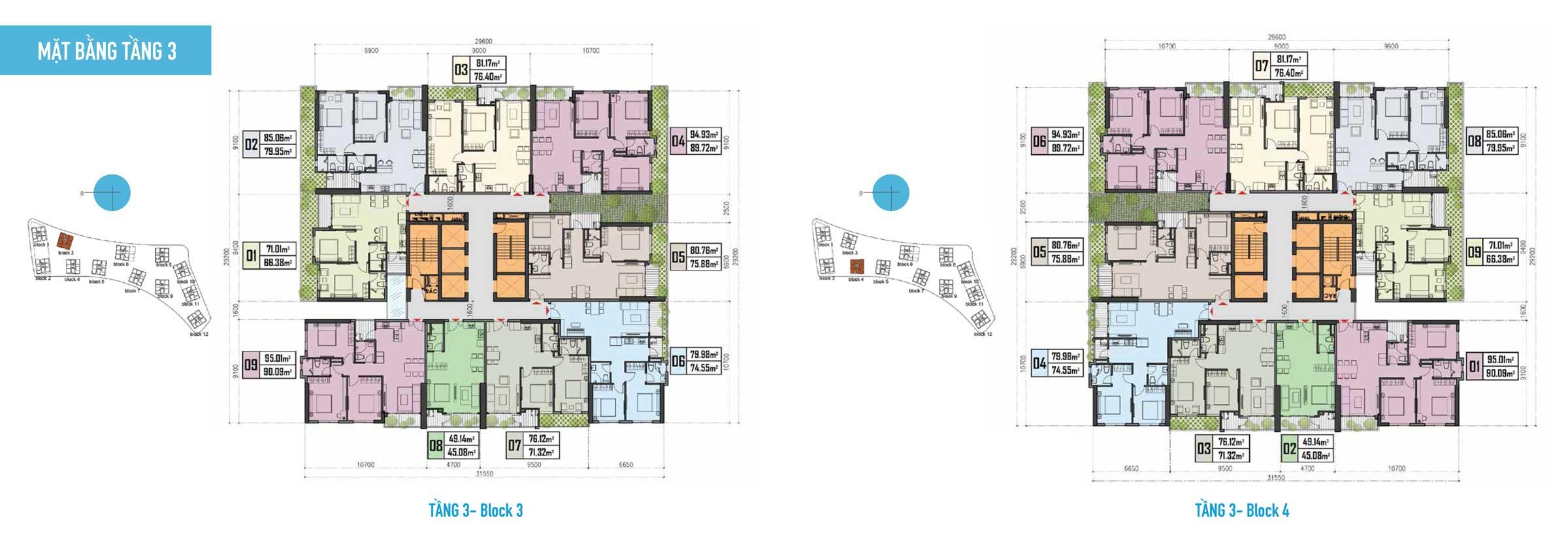 Thiết kế Căn hộ Gem Riverside - Mặt bằng tầng 3 Block 3,4